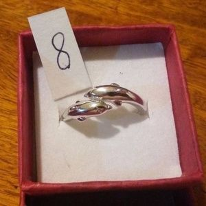 Women's Sterling Silver Dolphin Band Ring Size 8